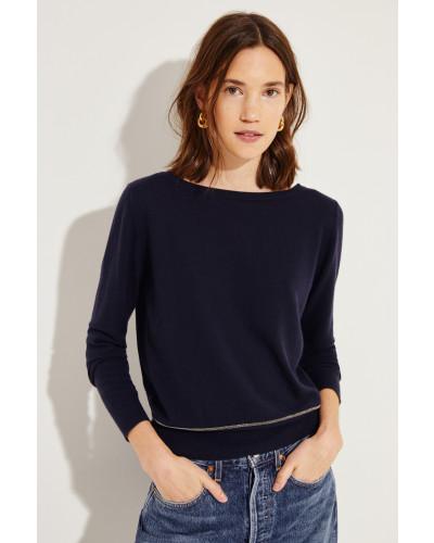Cashmere-Pullover mit Schleifenverzierung Marineblau -