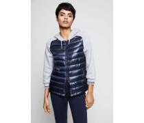 Sweatshirt mit Daunen-Element Blau/Grau