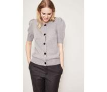 Cashmere-Cardigan mit kurzen Puff-Ärmel Grau