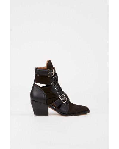 Veloursleder-Ankle-Boots 'Rylee' Schwarz/Braun