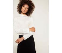 Seiden-Bluse mit Puffärmel Weiß