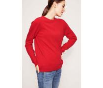 Klassischer Cashmere-Pullover mit Rundhals-Ausschnitt Rot