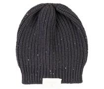 Cashmere-Mütze mit Paillettendetails Marineblau