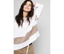 Woll-Pullover mit Streifenmuster Cremé/Beige