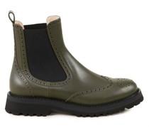 Glattleder-Chelsea Boots mit Lochverzierungen Khaki