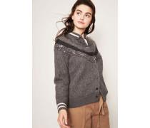 College Cashmere-Cardigan Materialmix Grau
