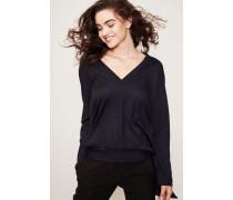 Cashmere-Seiden-Pullover mit Bindedetail Marineblau