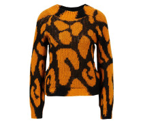 Strickpullover 'Animal Big Leopard' Orange/Schwarz