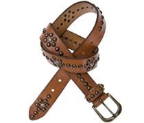 b. belt Gürtel mit Nieten in Cognac 3,5 cm