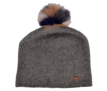 Beanie in Grau mit Fellbommel