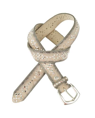 Ledergürtel mit Schlangenprägung und Nieten in Greige 3,5 cm
