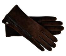 Handschuhe mit Lederflechtung in Dunkelbraun