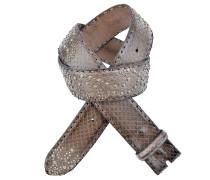 Pythonledergürtel Borchie mit Nieten in Braun 4 cm