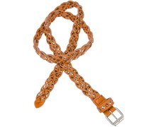 b. belt Gürtel aus geflochtenem Leder in Orange