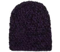 Mütze Handgestrickt in Lila/Schwarz