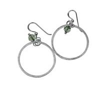 Creolen aus Silber mit grüner Perle