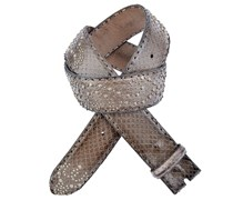 Reptiles House Pythonledergürtel Borchie mit Nieten in Braun 4cm