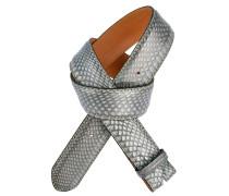 Gürtel aus Kobra-Leder in Jeansblau 4cm