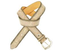 Ledergürtel mit Schlangenprägung in Greige 3,5 cm