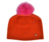 Beanie in Orange mit Fellbommel