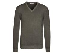 Weicher Pullover aus 100% Merinowolle von Heritage in Oliv für Herren