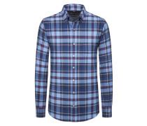 Kariertes Flanellhemd aus reiner Baumwolle von Tom Rusborg in Marine für Herren