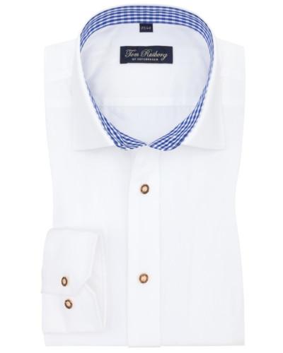 Trachtenhemd mit Karo-Muster in Weiss/blau