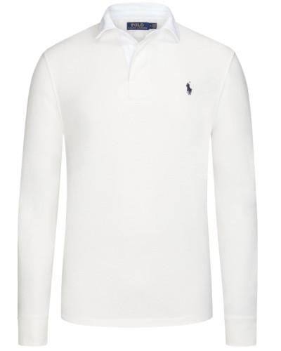 Langarm Poloshirt, 100% Baumwolle in Weiss