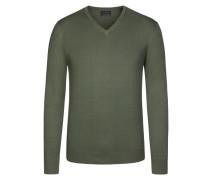 V-Neck Basic Pullover von Tom Rusborg in Oliv für Herren