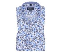Leinenhemd mit Flower-Print von Tom Rusborg in Hellblau für Herren