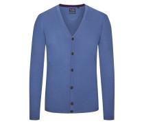 Cardigan aus 100% Merinowolle, Slim-Fit von Tom Rusborg in Blau für Herren