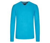 Merino/Kaschmir V-Neck Pullover von Tom Rusborg in Aqua für Herren