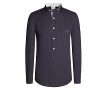 Trachtenhemd, Kleinkaro von Luis Trenker in Blau für Herren