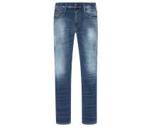 Slim Fit Stretch-Jeans, Used-Look, Anbass von Replay in Marine für Herren