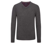 Merino/Kaschmir V-Neck Pullover von Tom Rusborg in Anthrazit für Herren