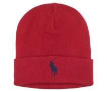 Baumwoll Strick Mütze in Rot für Herren