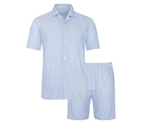 Kurzer Pyjama von Novila in Hellblau für Herren