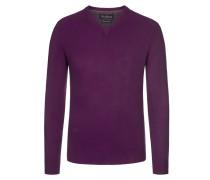 Merino/Kaschmir V-Neck Pullover von Tom Rusborg in Berry für Herren