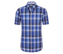 Leinenhemd, kariert von Tom Rusborg in Blau für Herren
