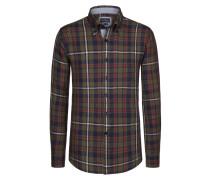 Button-Down-Leinenhemd im Karo-Dessin von Tom Rusborg in Oliv für Herren