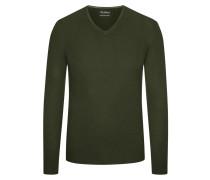 Pullover aus 100% Merinwolle von Tom Rusborg in Oliv für Herren