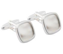 Eckige Manschettenknöpfe mit Perlmutt von Tom Rusborg Premium in Silber für Herren