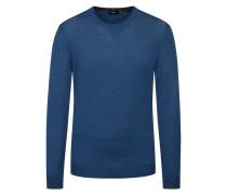 O-Neck Pullover aus Merinowolle, Slim Fit von Boss in M.blau für Herren