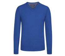 Merino/Kaschmir V-Neck Pullover von Tom Rusborg in Royal für Herren