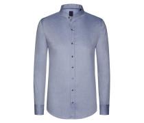 Stehkragenhemd im Minimal-Dessin von Tom in Blau für Herren