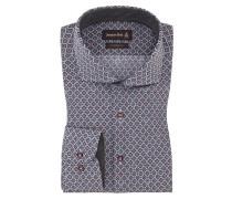 Gemustertes Custom Fit Hemd von Jacques Britt in Bordeaux für Herren