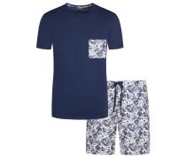 Bequemer Schlafanzug mit Muster von Hom in Marine für Herren