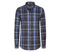 Warmes Flanellhemd mit Karo-Muster von Tom Rusborg in Blau für Herren