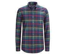 Kariertes Flanellhemd aus 100% Baumwolle von Tom Rusborg in Marine für Herren