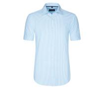 Kurzarm Freizeithemd mit Kentkragen, Seersucker von Tom Rusborg in Blau für Herren